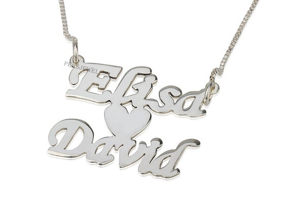 handmade 14k solid white gold personalized necklace with two