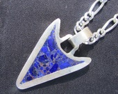 Sterling silver, Lapis Lazuli, Crushed Stone Inlay Arrow Pendant on a 26 inch figaro chain