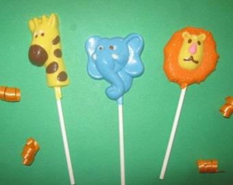 20 Chocolate SAFARI JUNGLE Lollipop Party Favors