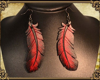 Earrings with feather Crow raven feather earrings leather