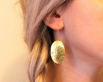 Oval Hammered Dangle Handmade Statement Gold - Silver Earrings