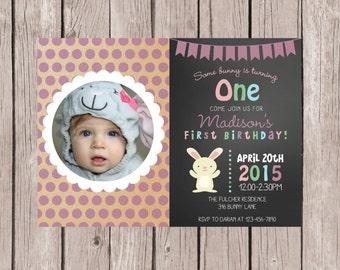 PRINTABLE- Bunny Birthday Invitation- Easter Birthday Invitation- Some Bunny Invite- Birthday Invite- Girl's First Birthday Invite-  5x7 JPG