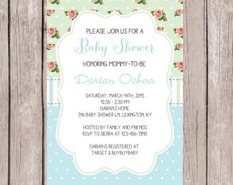 PRINTABLE- Elegant Baby Shower Invite- Boy Baby Shower Invite- Baby Shower Invite- Shower Invite- 5x7 JPG