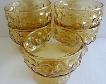 Vintage Set of (5) Anchor Hocking Honey Gold Lido Milano Pattern Sherbet/Champagne Glasses - 1970s