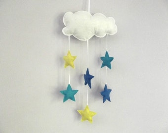 baby mobile - baby crib mobile - Star mobile - cloud mobile – Blue Star mobile -baby nursery decor – Gifts for new born-baby shower gifts