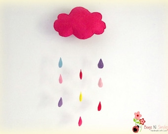 baby mobile - Rain drop cloud mobile - cloud crib mobile - Pink mobile - baby girl mobile - nursery decor - crib mobile - wall hanger