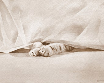 Hiding cat, Sepia Watercolor, Giclee Print, Rescue Cat Art