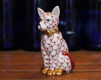 Vintage White and Red Patterned Porcelain Cat with Gold Luster Ribbon and Paws