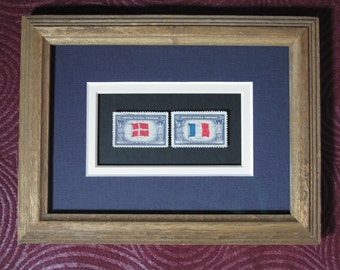 Framed Stamp Art! European Flags! Denmark! France! Acid Free! Collectible USPS Postage Stamps! Ready to Hang!