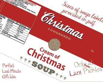 Cream of Christmas Soup Can Label DIY Instant Download Printable
