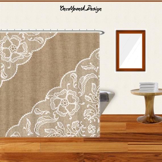 Burlap Shower Curtain Lace Shower Curtain Modern Shower Curtain ...