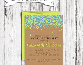 Custom Self Print Bachelorette Party Invitation: Confetti, Bachelorette, Kraft