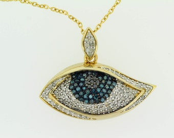 925  3/4 ct Blue / Black And White Evil Eye Pendant .
