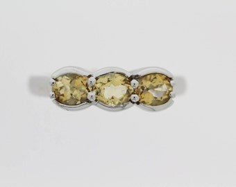 925 3 Stone Citrine Ring ( 4.95 cts)