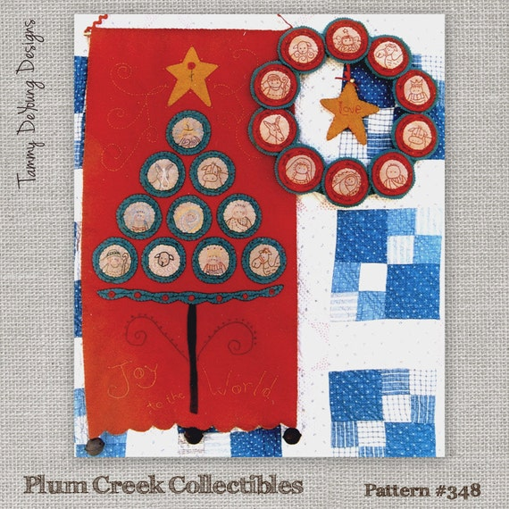 Nativity Pattern *Christmas Wreath & Banner Pattern* hand embroidery ...