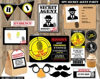 PDF format-Instant Download-Spy Agent Birthday Pack Printables-for personal use only