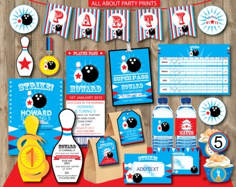 PDF format-Instant Download- Bowling Party Pack Printables-for personal use only-digital file