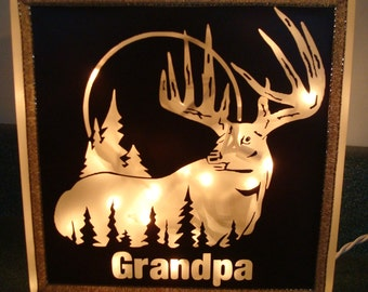 Personalized Big Buck LIGHTED GLASS BLOCK with Name - Perfect Husband, Father, Grandpa, Grandfather or Son Gift!