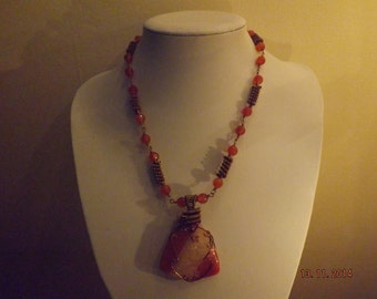 Large Triangular Agate Pendant and Necklace +free earrings