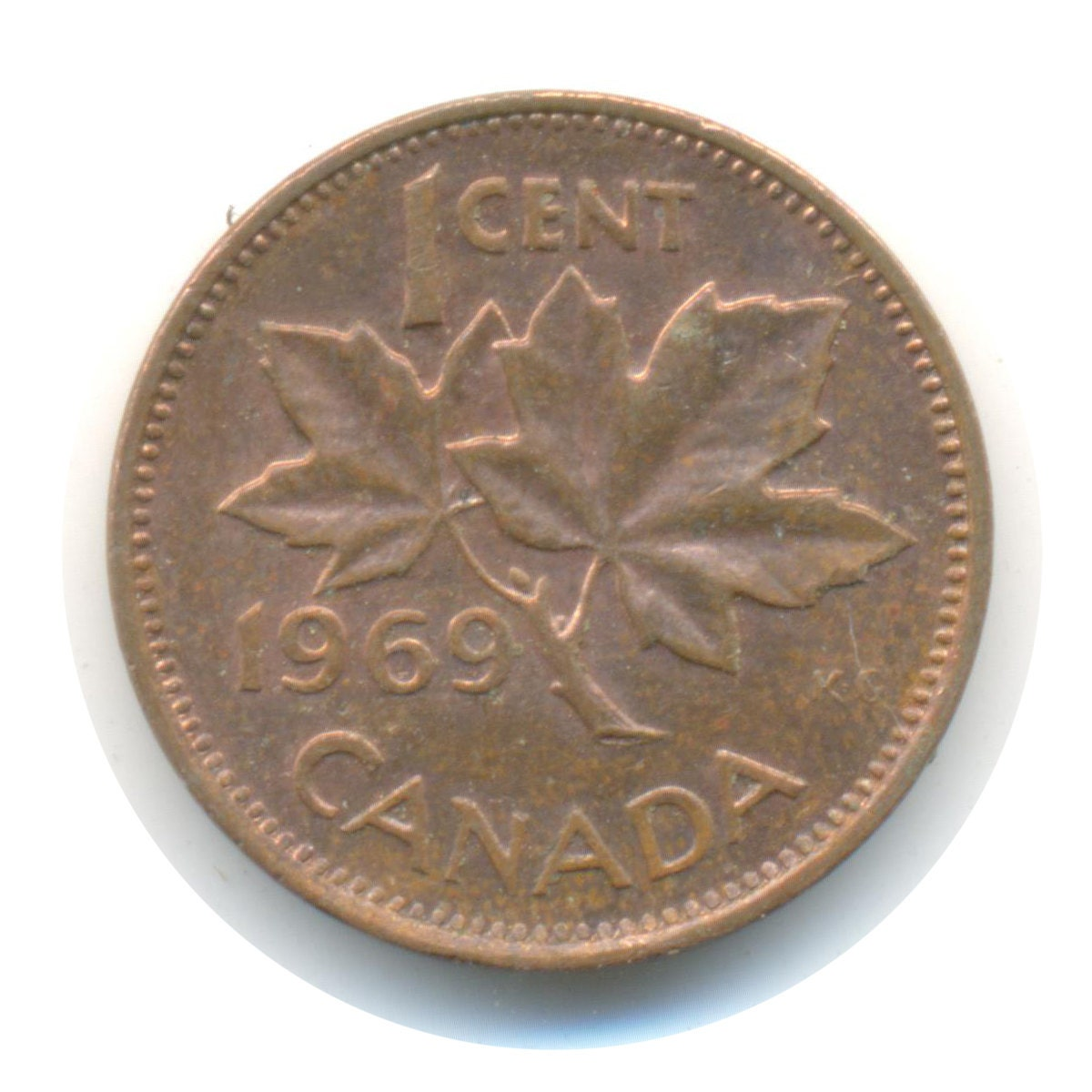 Canada One Cent 1969 Coin Code Jmc1691 By Coinsncards On Etsy