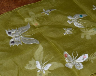 Vintage Silk Scarf With Butterflies
