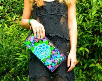 Ethnic Hmong embroidered hand /Handmade Hmong Embroidered Clutch bag