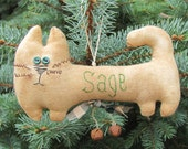 Personalized Primitive Kitty Cat Christmas Ornament