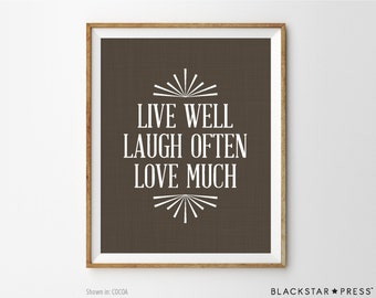 Inspirational Quote Print, Live Laugh Love, Motivational Office Decor, Housewarming Gift, Home Decor, Wall Decor