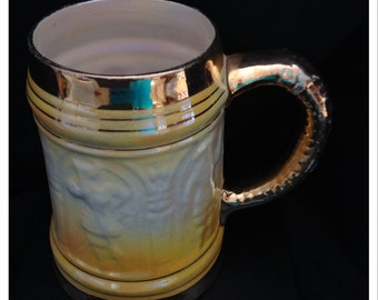 Vintage Yellow and white Lustreware Tankard/ Beer Mug with gold gilt