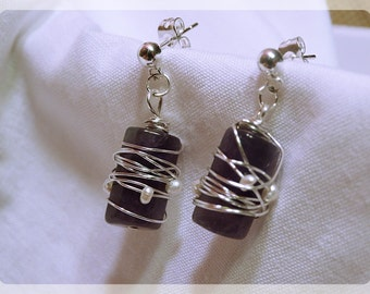 AMETHYST earrings tied with SILVER wire and PEARLS