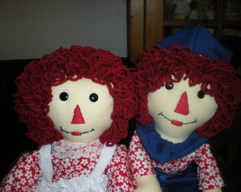 Raggedy Anne and Andy Dolls 20 inches.--- Made to order