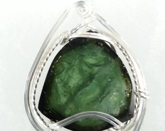 Wire Wrapped Pendant - Green Tourmaline Slice in Argentium Sterling Silver Pendant