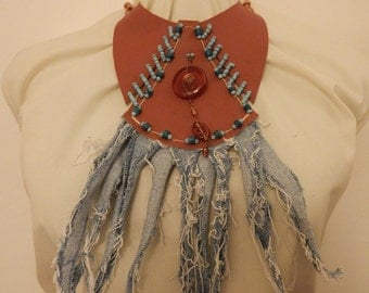 Leather Denim Bead Statement Necklace with Glass Pendant