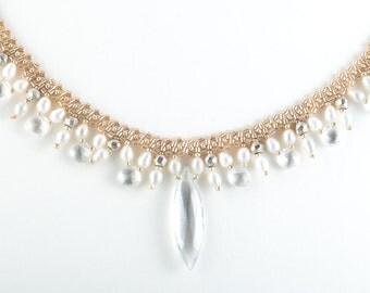 Wedding Statement Necklace, Topaz Necklace, Beadwoven Necklace, Gem necklace, White Bridal Necklace, Princess Necklace, Pearl Gem Fringe