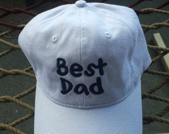 Best Dad Cap  - White w/ Navy Lettering