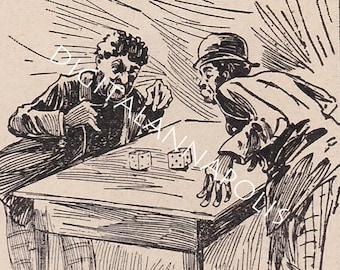 Vintage Cartoon Cycling Slang Casting Dice Gambling Roll Game Digital Image 300 dpi jpg Digital Download Printable19th Century Clip Art