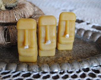4 x Beeswax Easter Island Candles - Xmas, Rapa Nui, Moai - Easter Island Beeswax Candles