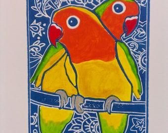 Original block print 'My Valentine', hand coloured 15 x 21cm print on A4 paper