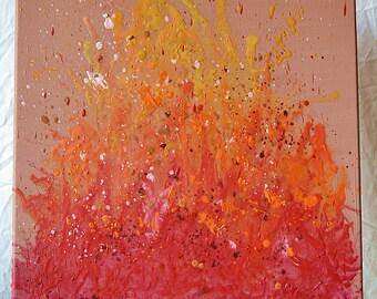 "colourful wax crayon on canvas ""bonfire"""