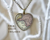 Los Angeles California heart shape map necklace. Romantic gift pendant. Free matching chain is included.