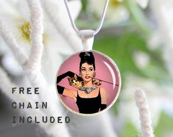 Audrey Hepburn necklace. Romantic gift pendant. Free matching chain is included.