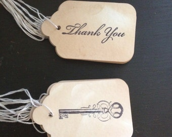 "Tags- 20- 10 ""thank you"" & 10 skeleton key-handmade"