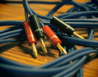 Audiophile Grade 8ft. Speaker Cable (Pair) > Artisan Crafted > Stereo Speakers > Custom > Royal Blue > Nakamichi > Made In California, USA