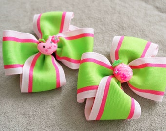 Pair of Pink Fruit Hair Bow Clip
