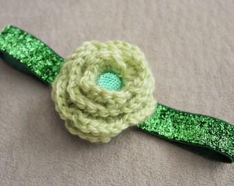 Baby Green Crochet Flower Headband
