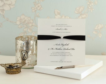 Wedding Invitation, Wedding Invite, Diamond High Gloss Wedding Invitation, boxed invites