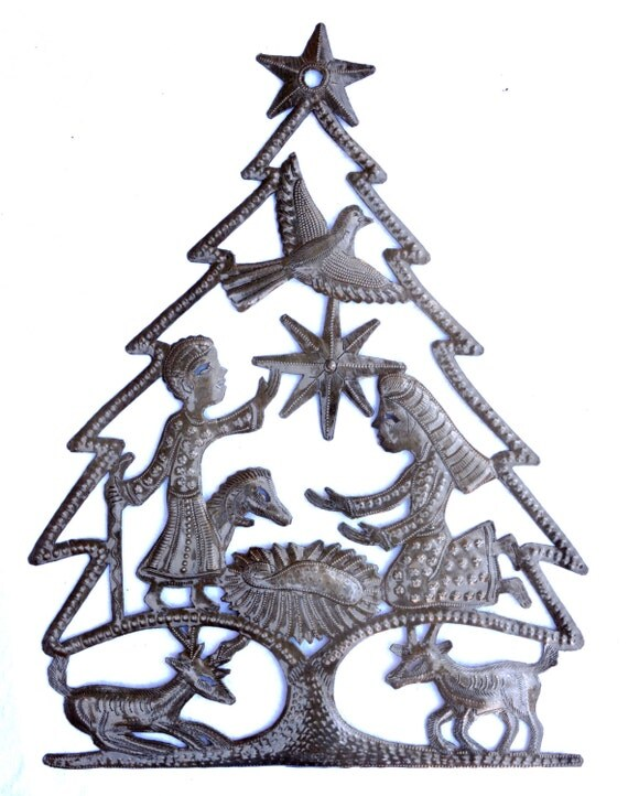 "Christmas Tree Nativity, Recycled Steel, Haiti Metal Wall Art 17"" x 13"" Spirituality & Religion"