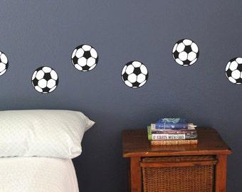 Soccer Balls Set of 12, Fun sport wall decals, football boys bedroom play room stickers
