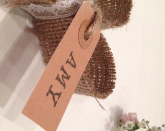 10 x Vintage rustic hessian lace heart place card