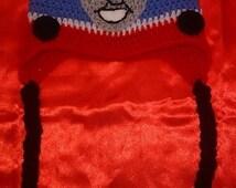 Thomas the tank engine inspired crochet hat.